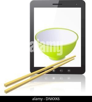 Tablet-PC-Computer mit Keramik-Becher mit hölzernen Stöcke isolierten auf weißen Hintergrund. Vektor-Illustration. - Stockfoto
