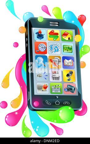 Funky moderne Handy-Smartphone Gelee Blase Konzept - Stockfoto