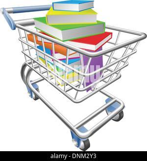 Ein Beispiel für eine Warenkorb-Einkaufswagen voller Bücher - Stockfoto