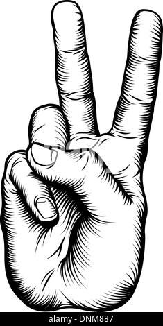 Beispiel für einen Sieg V Gruß oder Frieden Handzeichen in einem Retro-Holzschnitt-Stil - Stockfoto