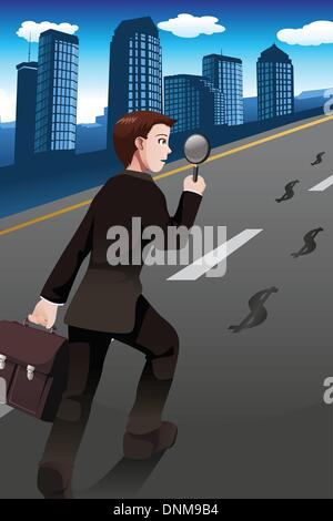 Eine Vektor-Illustration des Geschäftsmanns nach den Geld-Fußabdruck für Business-Konzept - Stockfoto