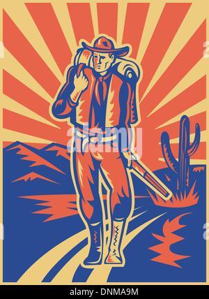 Retro-Stil Abbildung eines Cowboys mit Rucksack und Gewehr zu Fuß mit Wüstenberge und Kaktus im Hintergrund - Stockfoto