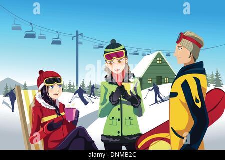 Eine Vektor-Illustration von Freunden Skifahren im Skigebiet - Stockfoto
