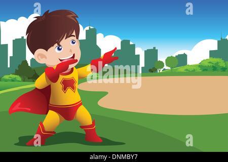 Eine Vektor-Illustration eines jungen in Superhelden-Kostüm - Stockfoto