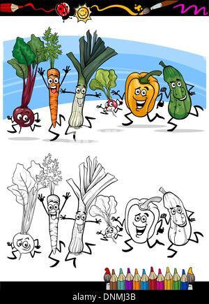 laufenden Gemüse Cartoon zum Ausmalen Stockfoto, Bild: 103011331 - Alamy