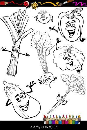 Schwarz / Weiß Cartoon Illustration der Lauch Gemüse essen Objekt ...