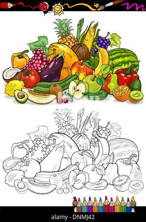 Obst und Gemüse für Malbuch Vektor Abbildung - Bild: 64654473 - Alamy