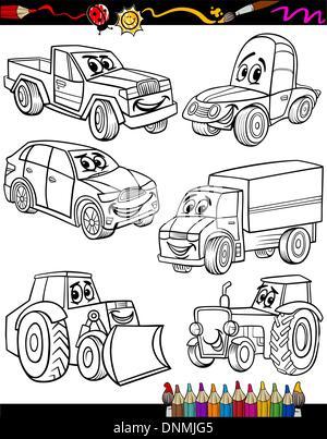 Cartoon-Pkw und LKW für Malbuch Stockfoto, Bild: 103051012 - Alamy