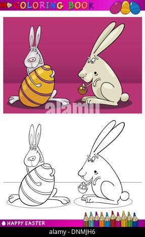 Buch oder Seite Cartoon Illustration der Osterhase mit großen Ei und anderen Korb kleine Eier färben - Stockfoto