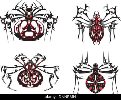 Schwarze und rote Spinne der symmetrischen Tätowierungen. Vektor-Illustration-EPS8 - Stockfoto