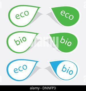 Etiketten mit Wort Bio und Öko - Stockfoto