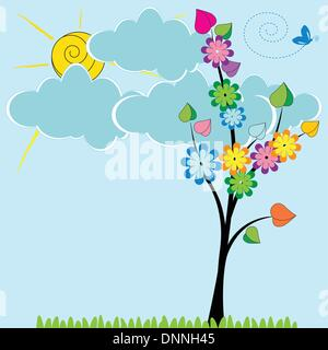 Nette Karte mit lustigen Bäumen und Sonnenschein - Stockfoto