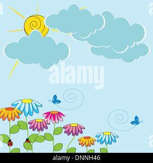 Nette Karte mit lustigen Blumen und Sonnenschein - Stockfoto