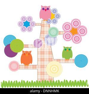 Cute kids Cartoon mit Baum und besitzt - Stockfoto