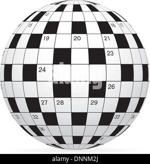 Eine leere Kreuzworträtsel Vektor in Form Weltkugel - Stockfoto