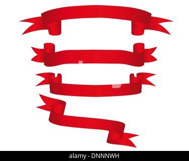 Kollektion von Vektor-hell rote Bänder in verschiedenen Formen - Stockfoto