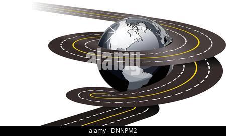 Spirale Straße Konzept Abbildung auf weißem Hintergrund - Stockfoto