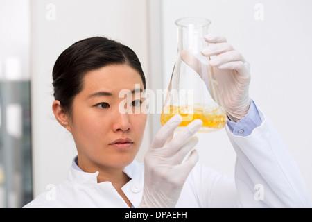 Weiblicher Wissenschaftler untersuchen Bakterienwachstum in Kolben mit LB (Lysogeny Brühe)-medium - Stockfoto