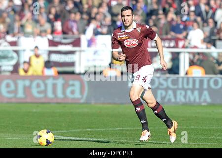 Turin, Italien. 12. Januar 2014. Nikola Maksimovic während der Serie A Spiel zwischen Turin und Fiorentina im Stadio - Stockfoto
