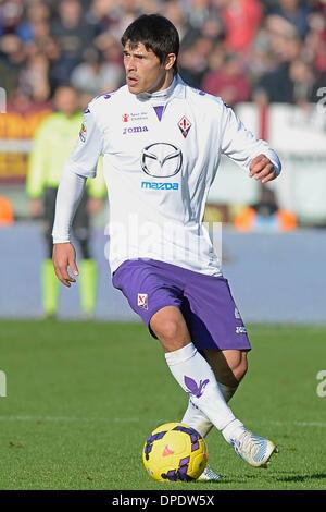Turin, Italien. 12. Januar 2014. Facundo Roncaglia während der Serie A Spiel zwischen Turin und Fiorentina im Stadio - Stockfoto