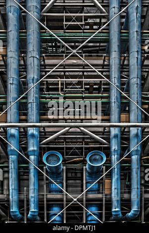 Architektonisches detail von außen Centre Pomidou Paris Frankreich - Stockfoto