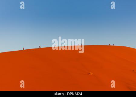 Touristen erscheinen winzig, wie Sie wandern entlang der Bergrücken von riesigen Sanddünen in der namib - Naukluft - Stockfoto