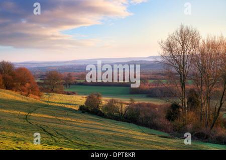 Landschaft in der Nähe von Ebrington, Chipping Campden, Gloucestershire, England. - Stockfoto
