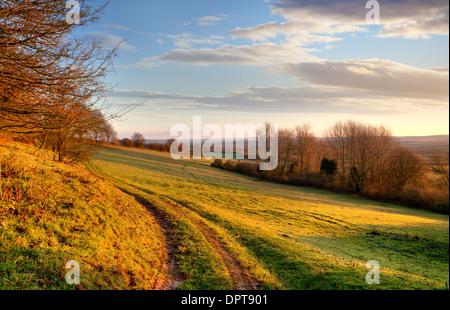 Feldweg in der Nähe von Chipping Campden, Cotswolds, Gloucestershire, England. - Stockfoto