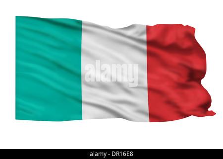 Flagge von Italien fliegt hoch in den Himmel. - Stockfoto