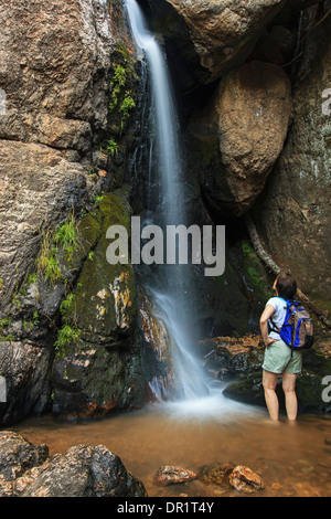Wanderer bewundern, Wasserfall, En Medio Fluss Santa Fe National Forest, New Mexico, USA - Stockfoto