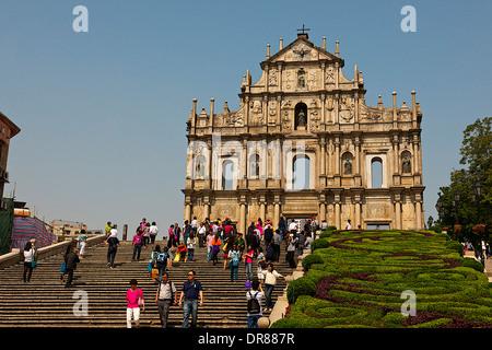 Ruinen der St. Pauls Kathedrale, Macau, China - Stockfoto