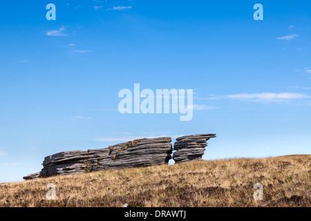 Seitenansicht des Watern Tor auf Dartmoor, aufgenommen an einem feinen Sommertag - Stockfoto