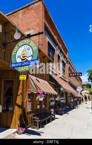 Busy Bee Café und historische Occidental Hotel auf der Main Street in der Innenstadt von Buffalo, Wyoming, USA