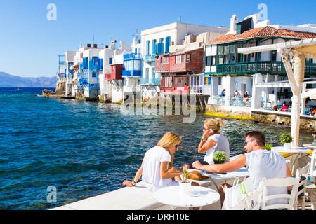 Wenig Venedig Bereich von Mykonos Kykladen Griechenland - Stockfoto