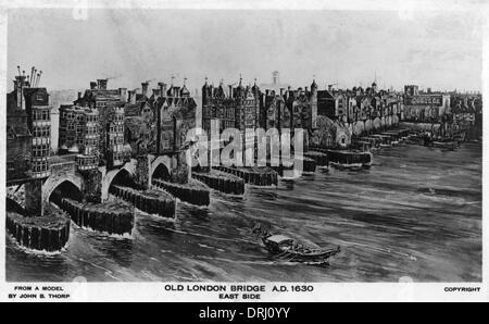 Old London Bridge - circa 1630 n. Chr. - Stockfoto