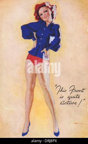 WWII - Pin-Up zeigt viel Bein - Stockfoto