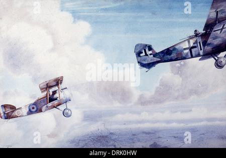 Luftkampf zwischen britischen und deutschen Flugzeuge, WW1 - Stockfoto