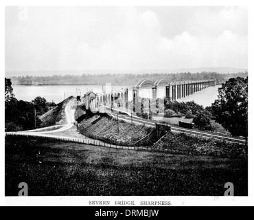 Severnbrücke, zwischen Schärfe und Lydney, abgerissen Gloucestershire 1970 fotografiert Circa 1910 - Stockfoto