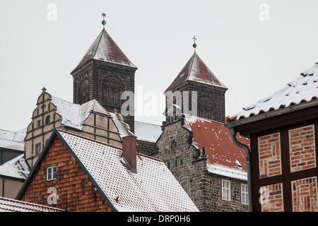 Schloss Quedlinburg, Quedlinburg, Harz Bezirk, Sachsen-Anhalt, Deutschland - Stockfoto