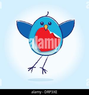Fliegende Bluebird hält rot Papierherz im Schnabel auf einem blau leuchtenden Hintergrund