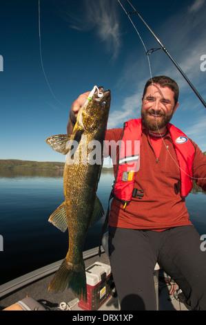Angler hält eine große Sommer-Zander, die er von seinem Boot auf einem See im Norden von Ontario gefangen. - Stockfoto
