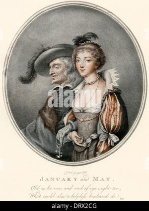 Eine Illustration, Darstellung der alte Mann und seine junge Braut aus Chaucers The Merchant Tale aka Januar bis - Stockfoto