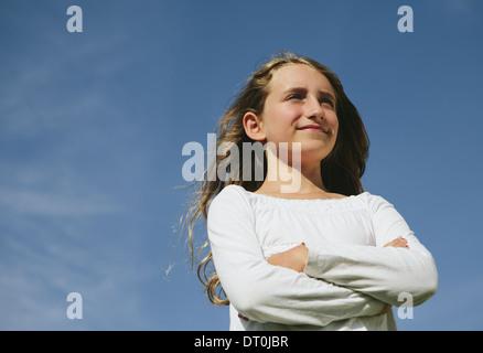Seattle Washington USA zuversichtlich und glücklich neunjähriges Mädchen im freien - Stockfoto
