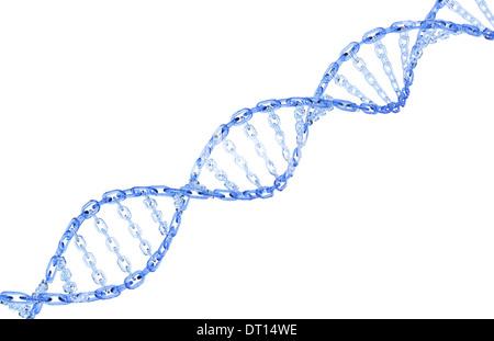 Gläserne Kette bilden einen gewundene DNA-Strang isoliert auf einem weißen Hintergrund. - Stockfoto