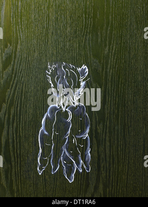 Eine Strichzeichnung Bild auf eine natürliche Holzmaserung Hintergrund ein paar Karotten mit grünen Spitzen - Stockfoto