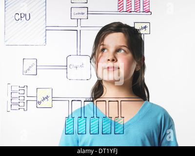 Ein junges Mädchen betrachten einer Zeichnung einer Computer-Motherboard-Schaltung auf sehen durch klare Oberfläche - Stockfoto
