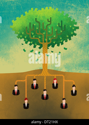 Anschauliches Bild von Geschäftsleuten an Baumwurzeln darstellt, Wachstum und Teamwork befestigt - Stockfoto