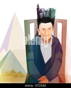Illustrative Menschenbild nachdenklich senior mit Eigentums auf Kopf, Vermächtnis darstellt - Stockfoto