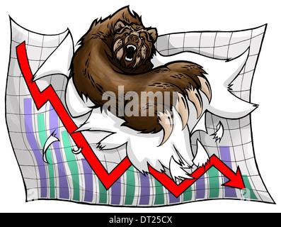 Anschauliches Bild der Bär reißen Millimeterpapier die Verlust an der Börse - Stockfoto