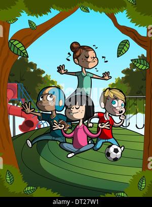 Anschauliches Bild von Kindern, die Durchführung der verschiedener Aktivitäten, Sport, gesunde Lebensweise darstellt - Stockfoto